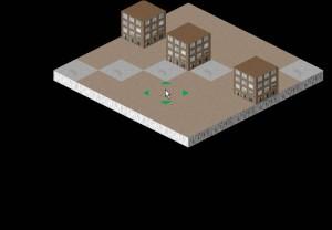 Carte 2d isométrique avec des bâtiments